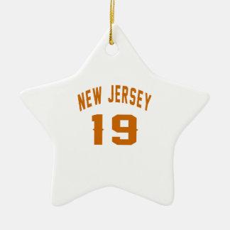 New Jersey  19 Birthday Designs Ceramic Star Ornament