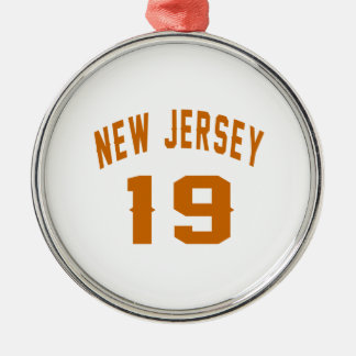New Jersey  19 Birthday Designs Silver-Colored Round Ornament