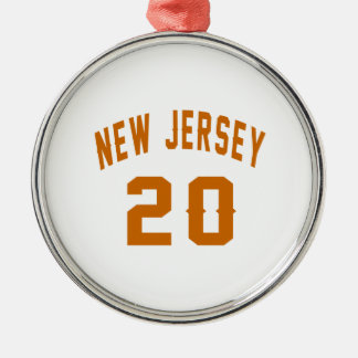 New Jersey  20 Birthday Designs Silver-Colored Round Ornament