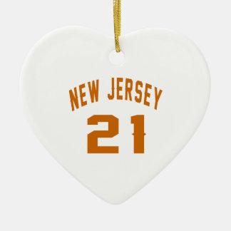 New Jersey  21 Birthday Designs Ceramic Heart Ornament