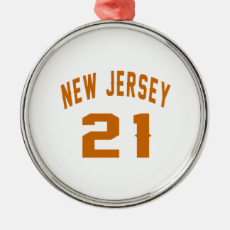 New Jersey  21 Birthday Designs Silver-Colored Round Ornament