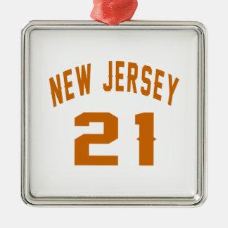 New Jersey  21 Birthday Designs Silver-Colored Square Ornament