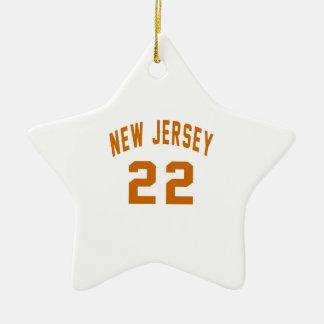 New Jersey  22 Birthday Designs Ceramic Star Ornament
