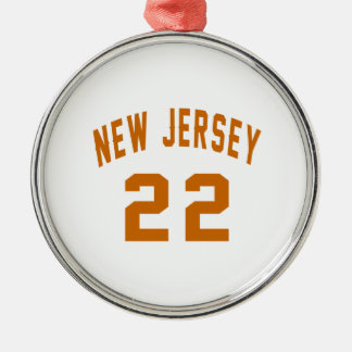 New Jersey  22 Birthday Designs Silver-Colored Round Ornament