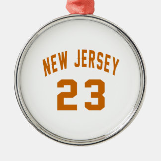 New Jersey  23 Birthday Designs Silver-Colored Round Ornament