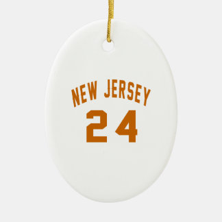 New Jersey  24 Birthday Designs Ceramic Oval Ornament