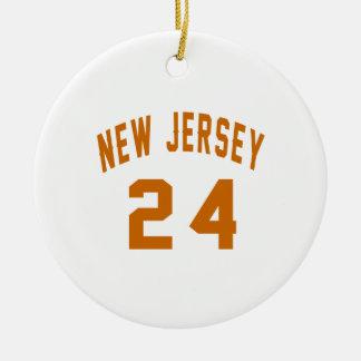 New Jersey  24 Birthday Designs Round Ceramic Ornament