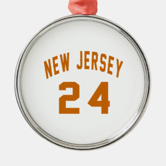 New Jersey  24 Birthday Designs Silver-Colored Round Ornament