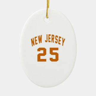 New Jersey  25 Birthday Designs Ceramic Oval Ornament