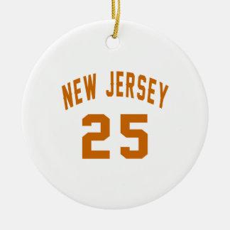 New Jersey  25 Birthday Designs Round Ceramic Ornament