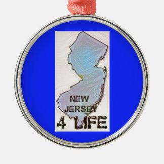 """""""New Jersey 4 Life"""" State Map Pride Design Metal Ornament"""