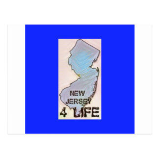 """""""New Jersey 4 Life"""" State Map Pride Design Postcard"""