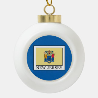 New Jersey Ceramic Ball Christmas Ornament