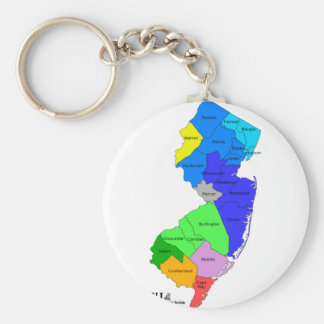New Jersey Counties in Color Keychain