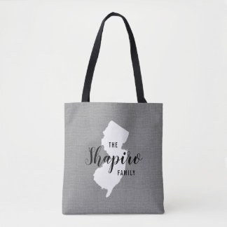 New Jersey Family Monogram State Tote Bag