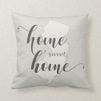 New Jersey - Home Sweet Home burlap-look Throw Pillow