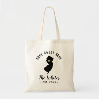 New Jersey Home Sweet Home Family Monogram Tote Bag