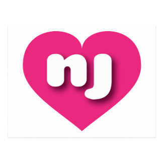 New Jersey hot pink heart - mini love Postcard