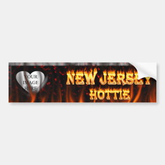 New Jersey Hottie fire and red marble heart. Bumper Sticker
