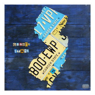 New Jersey License Plate Map Poster