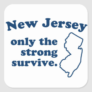 New Jersey Only The Strong Survive Square Sticker