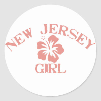 New Jersey Pink Girl Classic Round Sticker