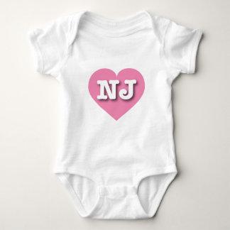New Jersey Pink Heart - Big Love Baby Bodysuit