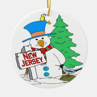 New Jersey Snowman Ceramic Ornament