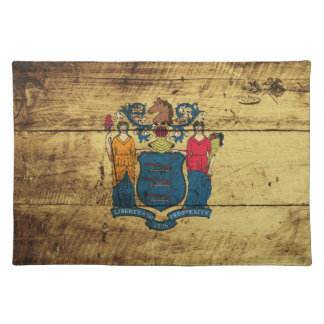 New Jersey State Flag on Old Wood Grain Place Mat