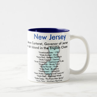 New Jersey Symbols & Map Two-Tone Coffee Mug