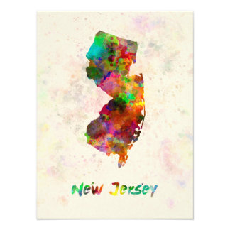 New Jersey U.S. state in watercolor Photo