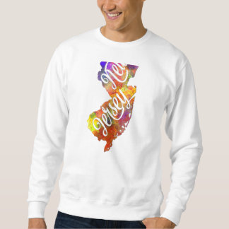New Jersey U.S. State in watercolor text cut out Sweatshirt
