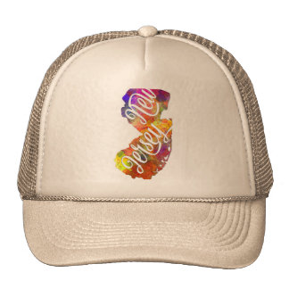 New Jersey U.S. State in watercolor text cut out Trucker Hat