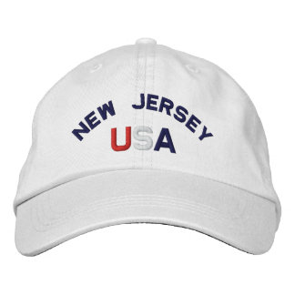 New Jersey USA Embroidered White Hat