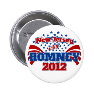 New Jersey with Romney 2012 2 Inch Round Button
