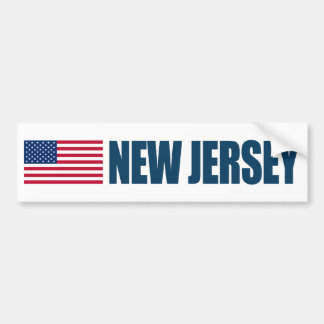 New Jersey with US Flag Bumper Sticker