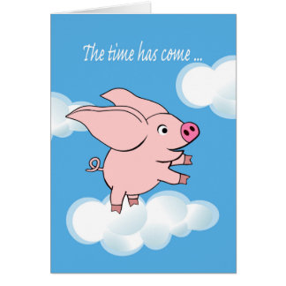 New Job Announcement, Pig With Big Ears Flying Card