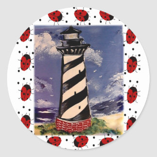 New Ladybug Lighthouse Round Sticker