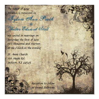 New Life Vintage with Blue Wedding Invitation