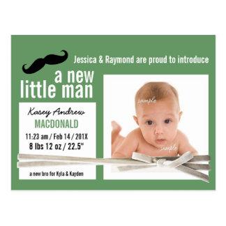 New Little Man Green Photo Birth Announcement Postcard
