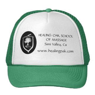 new logo, HEALING OAK SCHOOL OF MASSAGE, www.he... Trucker Hat