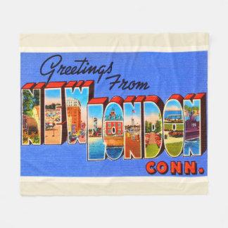 New London Connecticut CT Vintage Travel Souvenir Fleece Blanket