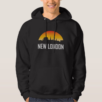 New London Connecticut Sunset Skyline Hoodie