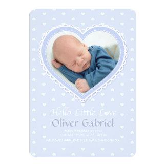 New Love Blue Photo Birth Announcement