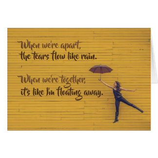 New love floating away greeting card