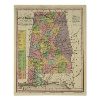 New Map Of Alabama Poster