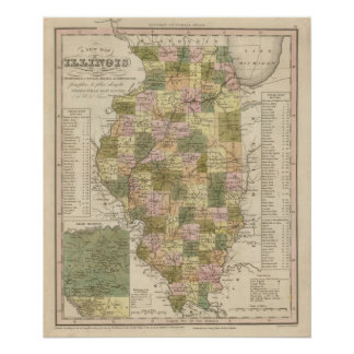 New Map Of Illinois 2 Poster
