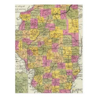 New Map Of Illinois Postcard