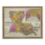 New Map Of Louisiana 3 Print