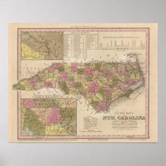 New Map Of North Carolina Poster